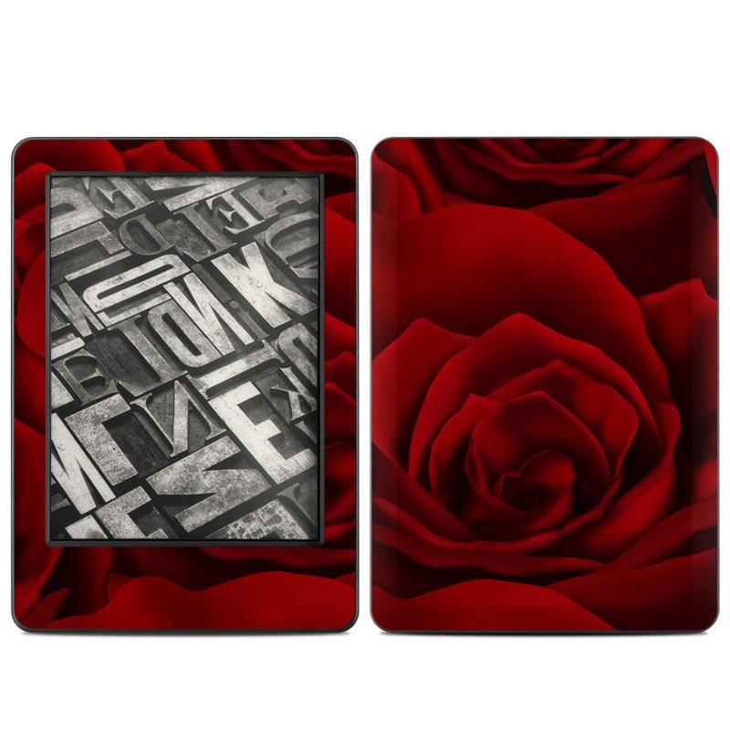 Amazon Kindle 7th Gen Skin design of Red, Garden roses, Rose, Petal, Flower, Nature, Floribunda, Rose family, Close-up, Plant with black, red colors