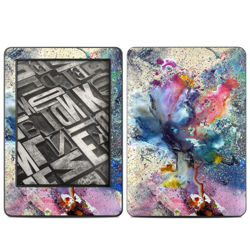 Amazon Kindle 7th Gen Skin design of Watercolor paint, Painting, Acrylic paint, Art, Modern art, Paint, Visual arts, Space, Colorfulness, Illustration with gray, black, blue, red, pink colors