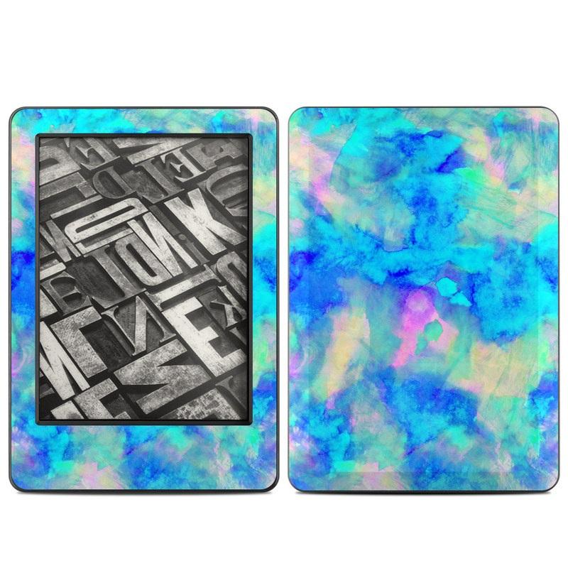 Amazon Kindle 7th Gen Skin design of Blue, Turquoise, Aqua, Pattern, Dye, Design, Sky, Electric blue, Art, Watercolor paint with blue, purple colors