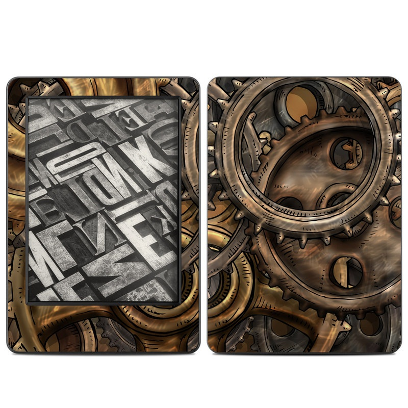Amazon Kindle 7th Gen Skin design of Metal, Auto part, Bronze, Brass, Copper with black, red, green, gray colors