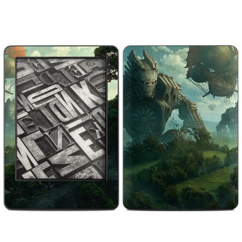Amazon Kindle 7th Gen Skin design of Action-adventure game, Cg artwork, Pc game, Strategy video game, Games, Adventure game, Screenshot, Illustration, Fictional character, Landscape with black, gray, blue, green colors