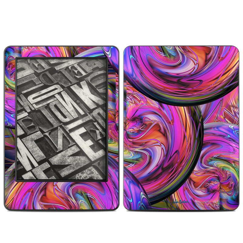 Amazon Kindle 7th Gen Skin design of Pattern, Psychedelic art, Purple, Art, Fractal art, Design, Graphic design, Colorfulness, Textile, Visual arts with purple, black, red, gray, blue, green colors