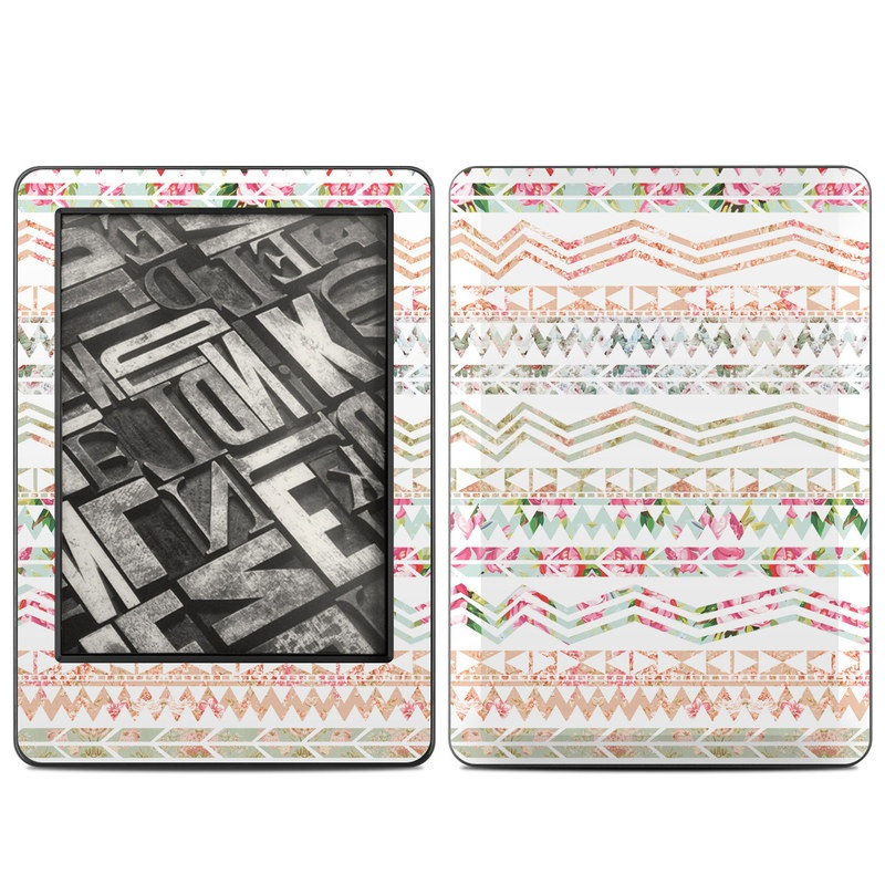 Amazon Kindle 7th Gen Skin design of Pink, Pattern, Textile, Line, Design, Pedicel with gray, white, pink, yellow, green colors