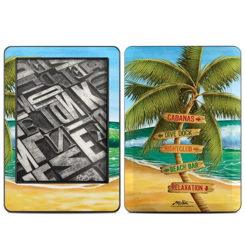 Amazon Kindle 7th Gen Skin design of Palm tree, Arecales, Tropics, Tree, Caribbean, Wave, Water, Coconut, Ocean, Elaeis with green, purple, gray, black, blue colors