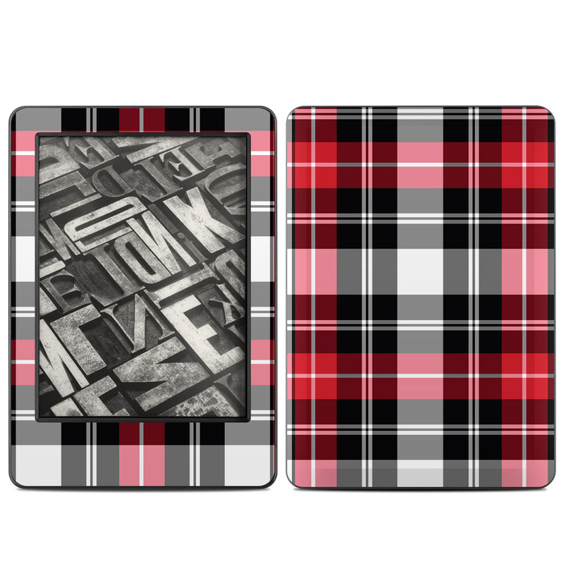 Amazon Kindle 7th Gen Skin design of Plaid, Tartan, Pattern, Red, Textile, Design, Line, Pink, Magenta, Square with black, gray, pink, red, white colors