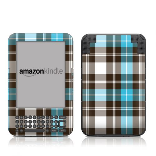 Turquoise Plaid Amazon Kindle 3 Skin