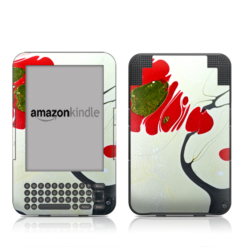 Amazon Kindle 3rd Gen Skin design of Red, Illustration, Art, Plant, Coquelicot, Visual arts, Acrylic paint with red, green, black, white colors