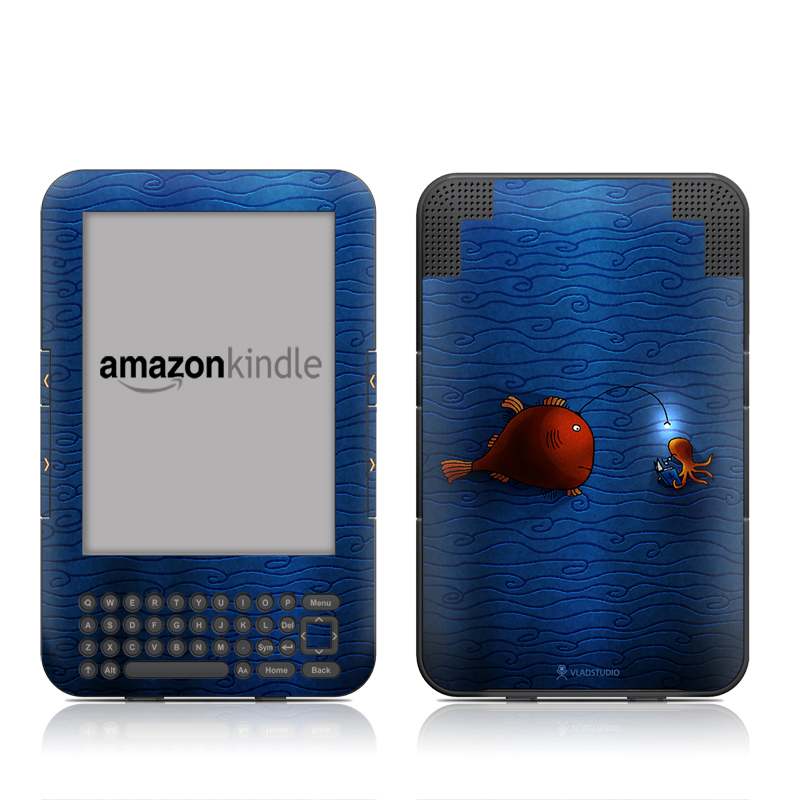 Amazon Kindle 3rd Gen Skin design of Deep sea fish, Anglerfish, Illustration, Fish, Animation, Art with blue, red colors
