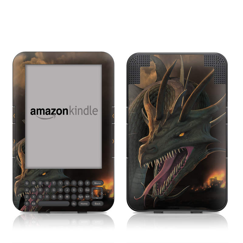 Amazon Kindle 3rd Gen Skin design of Dragon, Cg artwork, Fictional character, Mythical creature, Extinction, Illustration, Demon, Cryptid, Mythology with brown, pink, red, orange colors