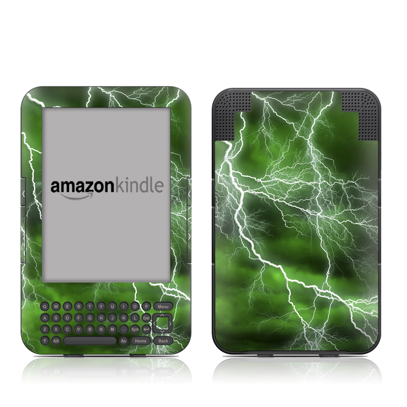 Amazon Kindle 3rd Gen Skin design of Thunderstorm, Thunder, Lightning, Nature, Green, Water, Sky, Atmosphere, Atmospheric phenomenon, Daytime with green, black, white colors