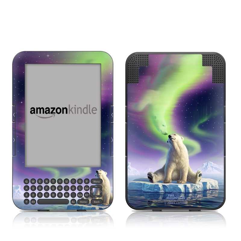 Amazon Kindle 3rd Gen Skin design of Aurora, Sky, Wildlife, Polar bear, Fictional character with white, blue, green, purple colors
