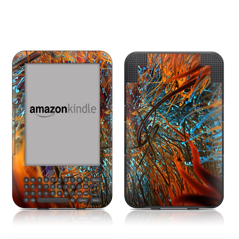 Amazon Kindle 3rd Gen Skin design of Orange, Tree, Electric blue, Organism, Fractal art, Plant, Art, Graphics, Space, Psychedelic art with orange, blue, red, yellow, purple colors