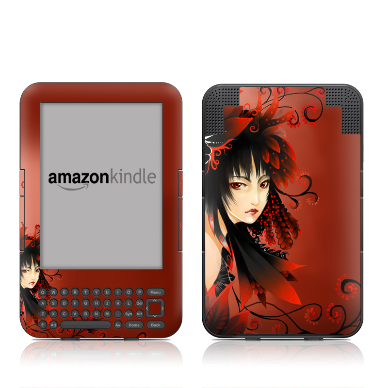 Black Flower Amazon Kindle Keyboard Skin