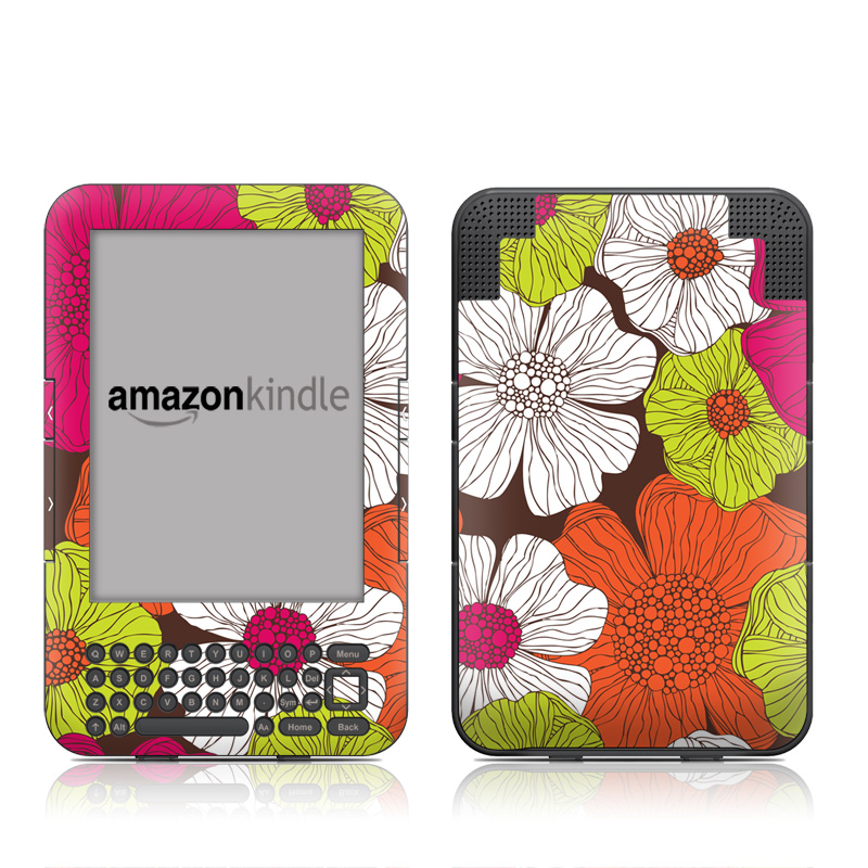 Brown Flowers Amazon Kindle Keyboard Skin
