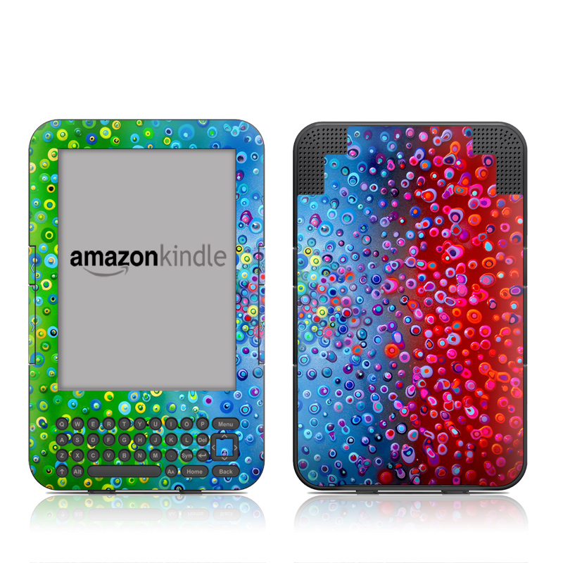 Amazon Kindle 3rd Gen Skin design of Water, Blue, Colorfulness, Liquid bubble, Pattern, Drop, Circle with red, blue, green, yellow, purple colors