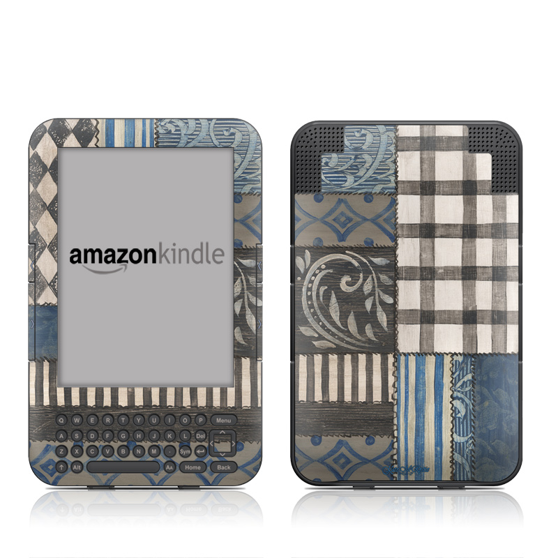 Country Chic Blue Amazon Kindle Keyboard Skin