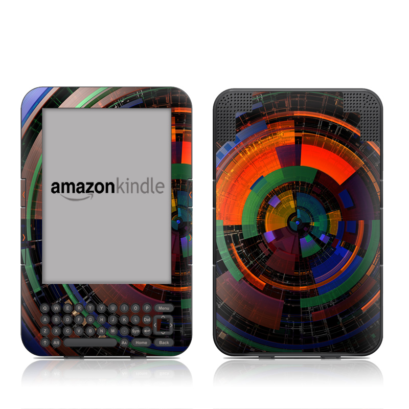 Amazon Kindle 3rd Gen Skin design of Colorfulness, Pattern, Circle, Design, Architecture, Symmetry, Art, Spiral, Psychedelic art with black, red, blue, green, orange, brown colors