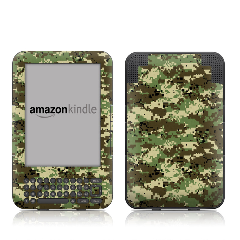 Digital Woodland Camo Amazon Kindle 3 Skin