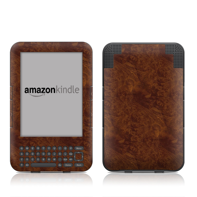 Dark Burlwood Amazon Kindle 3 Skin