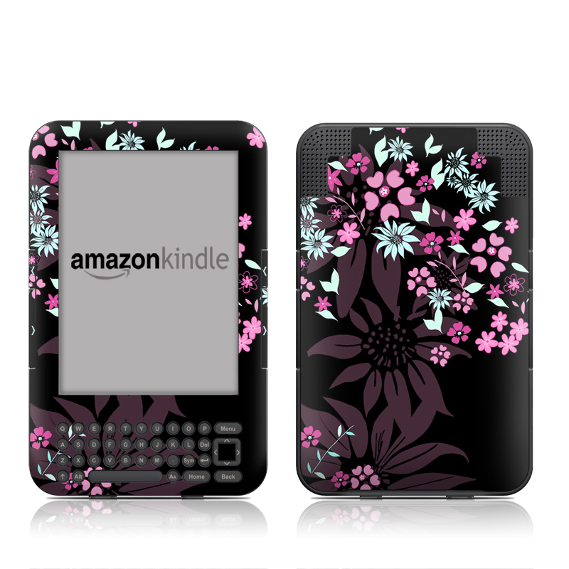 Dark Flowers Amazon Kindle Keyboard Skin