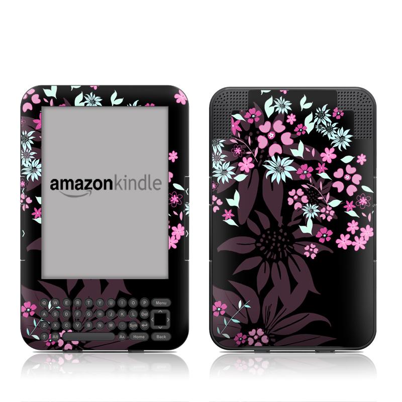 Dark Flowers Amazon Kindle Keyboard Skin