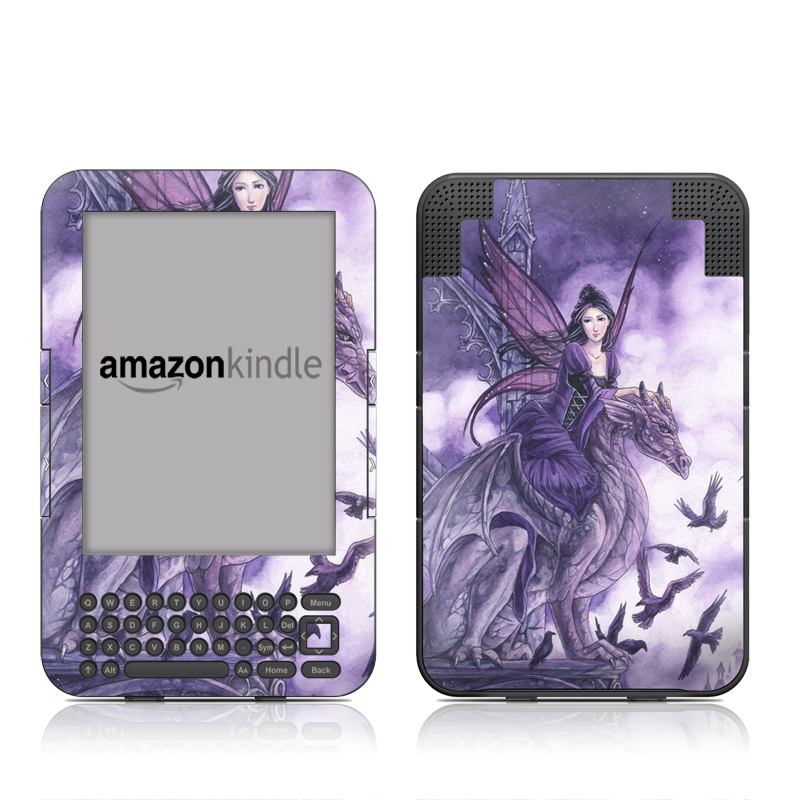 Amazon Kindle 3rd Gen Skin design of Cg artwork, Violet, Fictional character, Purple, Mythology, Illustration, Mythical creature, Woman warrior, Art with gray, blue, black, purple, pink colors