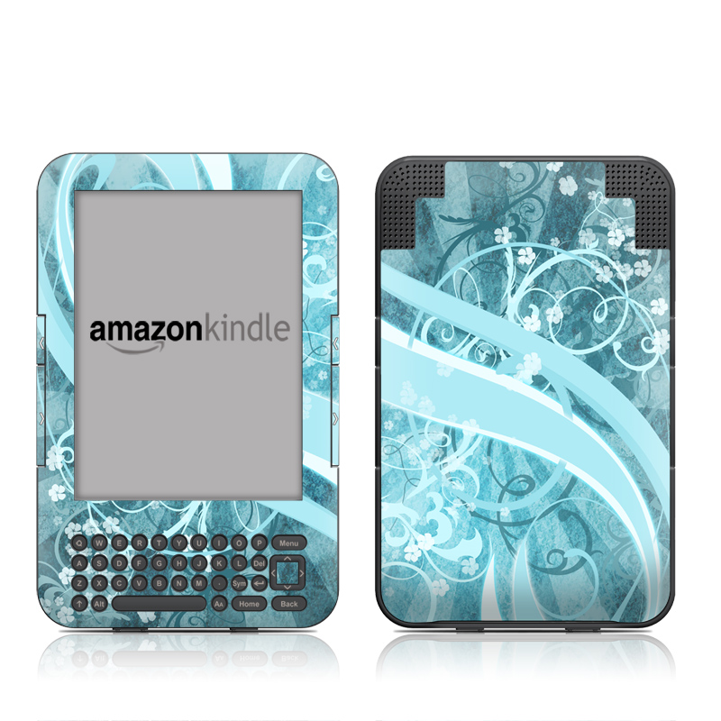 Amazon Kindle 3rd Gen Skin design of Aqua, Blue, Turquoise, Pattern, Teal, Text, Circle, Design, Graphic design, Wallpaper with gray, blue, purple colors