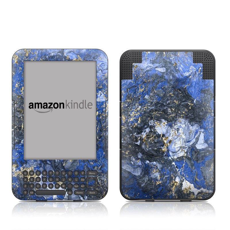 Amazon Kindle 3rd Gen Skin design of Blue, Water, Cobalt blue, Rock, Painting, Geology, Electric blue, Mineral, Pattern, Acrylic paint with black, blue, yellow, white, gray colors