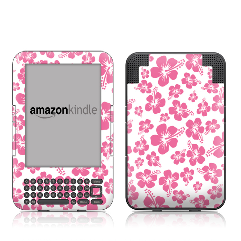 Pink Hibiscus Amazon Kindle Keyboard Skin