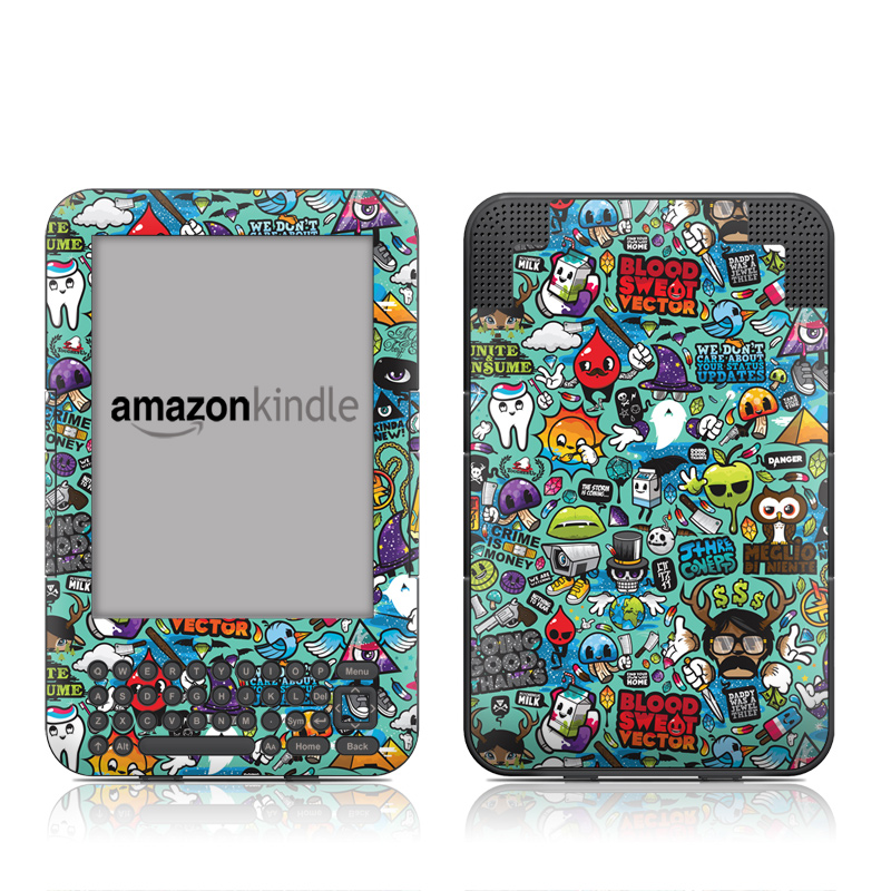 Amazon Kindle 3rd Gen Skin design of Cartoon, Art, Pattern, Design, Illustration, Visual arts, Doodle, Psychedelic art with black, blue, gray, red, green colors