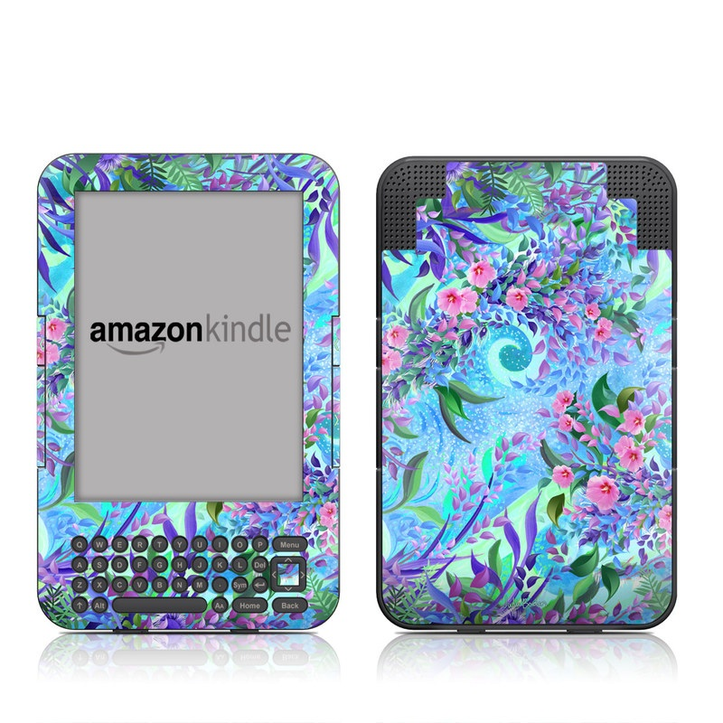 Amazon Kindle 3rd Gen Skin design of Psychedelic art, Pattern, Lilac, Purple, Art, Pink, Design, Fractal art, Visual arts, Organism with gray, blue, purple colors