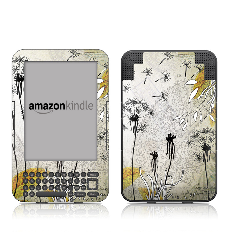 Amazon Kindle 3rd Gen Skin design of dandelion, Nature, Dandelion, Plant, Flower, Botany, Wildflower, Tree, Black-and-white, Illustration with gray, black, pink, white, green, yellow colors