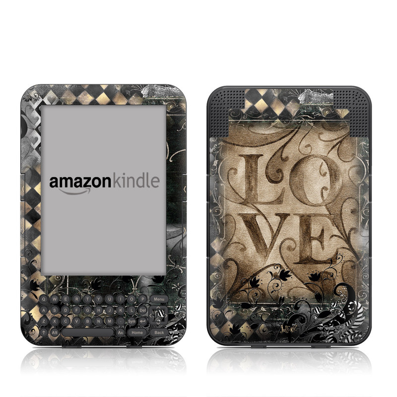 Amazon Kindle 3rd Gen Skin design of Pattern, Brown, Design, Textile, Art with black, gray, green, red colors