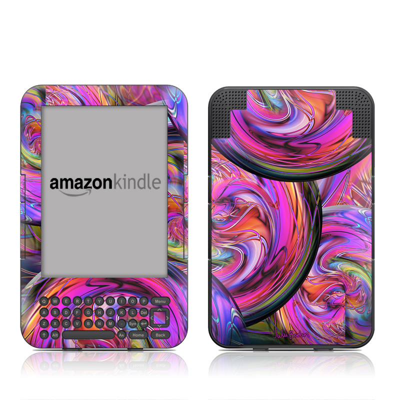Amazon Kindle 3rd Gen Skin design of Pattern, Psychedelic art, Purple, Art, Fractal art, Design, Graphic design, Colorfulness, Textile, Visual arts with purple, black, red, gray, blue, green colors