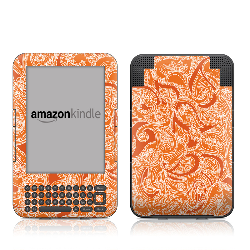 Paisley In Orange Amazon Kindle Keyboard Skin