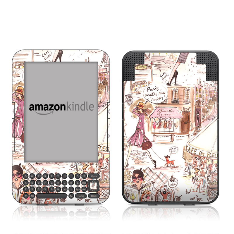 Paris Makes Me Happy Amazon Kindle Keyboard Skin
