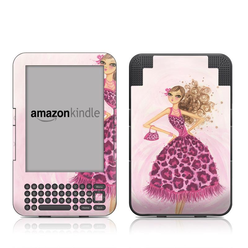Amazon Kindle 3rd Gen Skin design of Pink, Doll, Dress, Fashion illustration, Barbie, Fashion design, Illustration, Gown, Costume design, Toy with pink, gray, red, purple, green colors