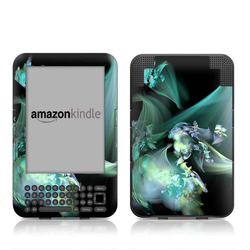 Amazon Kindle 3rd Gen Skin design of Fractal art, Cg artwork, Fictional character, Organism, Graphic design, Graphics, Art, Photography, Mythical creature, Dragon with black, blue, gray, green colors