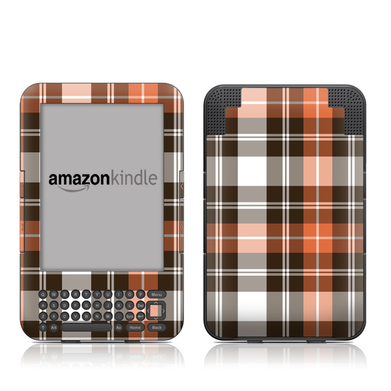 Copper Plaid Amazon Kindle 3 Skin