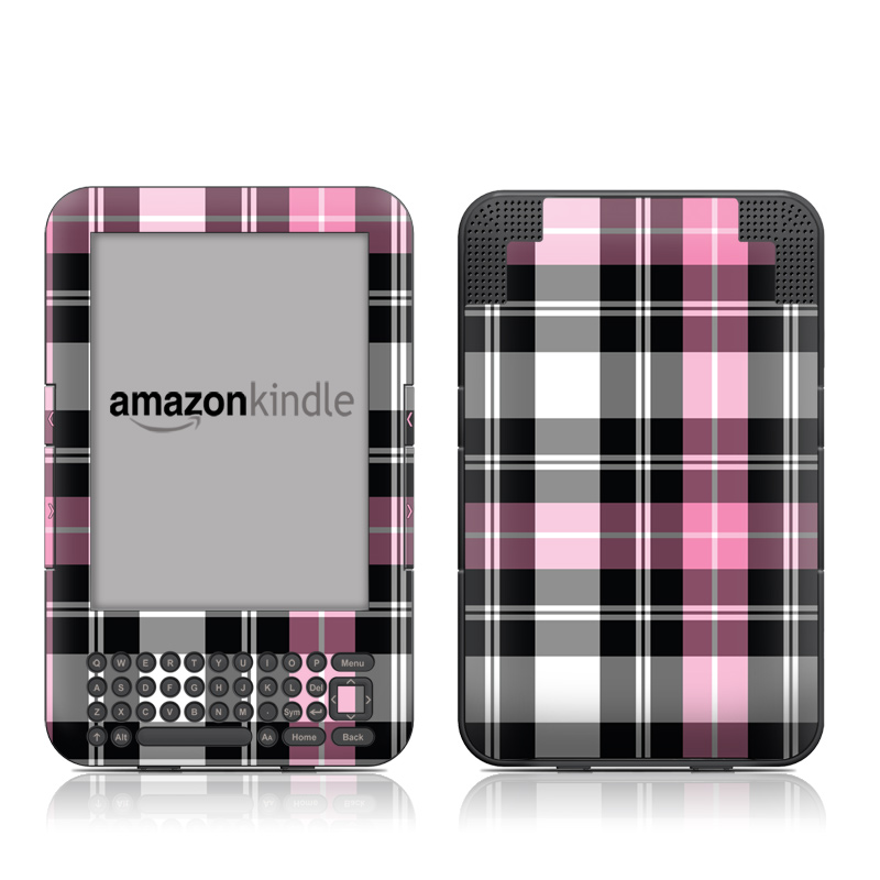 Pink Plaid Amazon Kindle Keyboard Skin