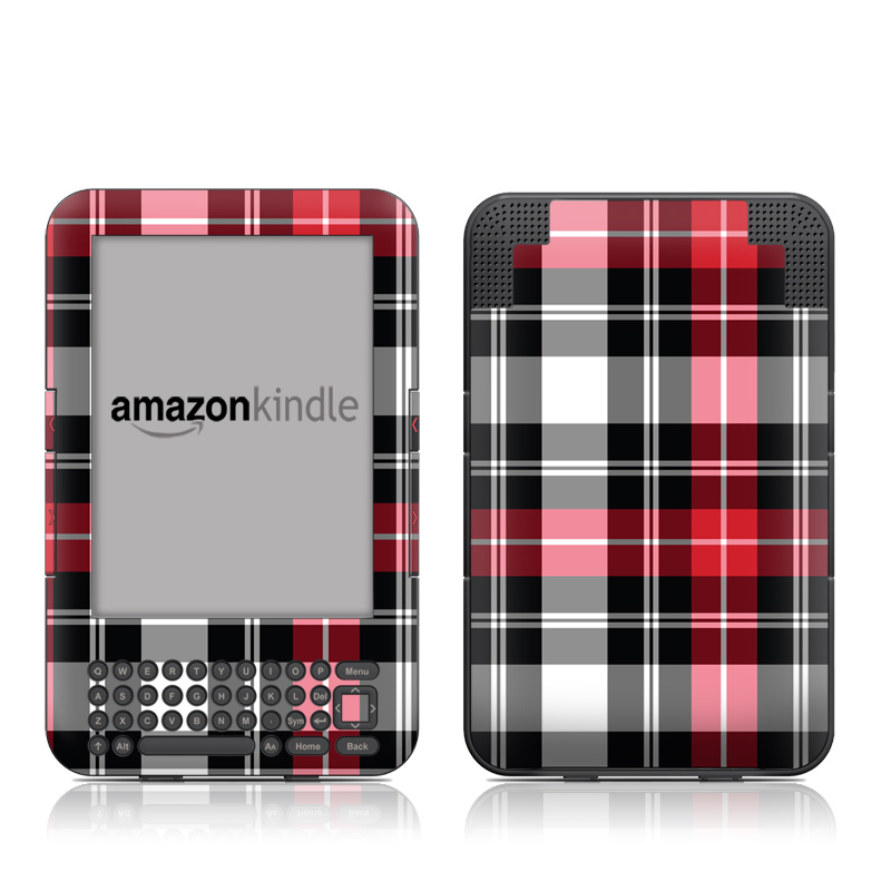 Amazon Kindle 3rd Gen Skin design of Plaid, Tartan, Pattern, Red, Textile, Design, Line, Pink, Magenta, Square with black, gray, pink, red, white colors