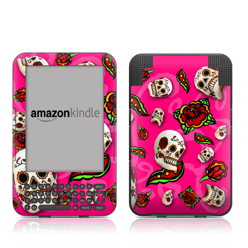 Amazon Kindle 3rd Gen Skin design of Skull, Bone, Pink, Font, Pattern, Illustration with pink, black, red, gray, purple colors