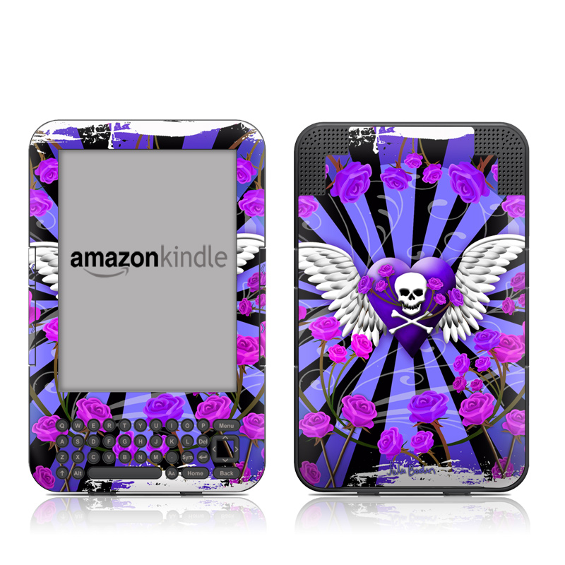 Skull & Roses Purple Amazon Kindle Keyboard Skin