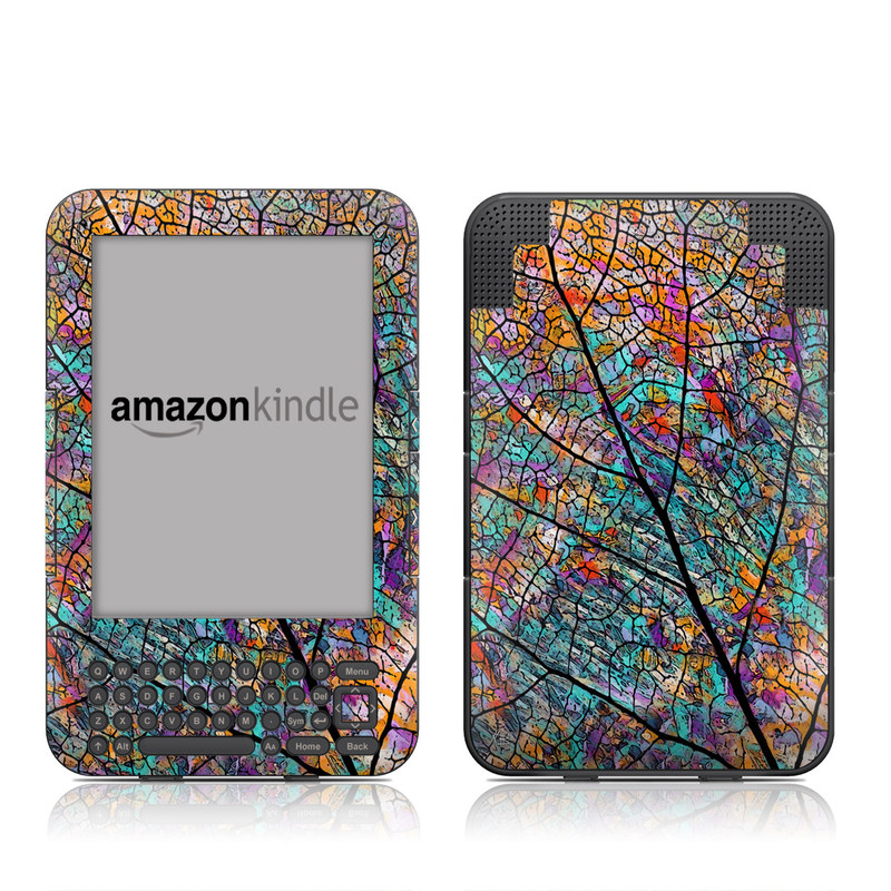 Amazon Kindle 3rd Gen Skin design of Pattern, Colorfulness, Line, Branch, Tree, Leaf, Design, Visual arts, Glass, Plant with black, gray, red, blue, green colors