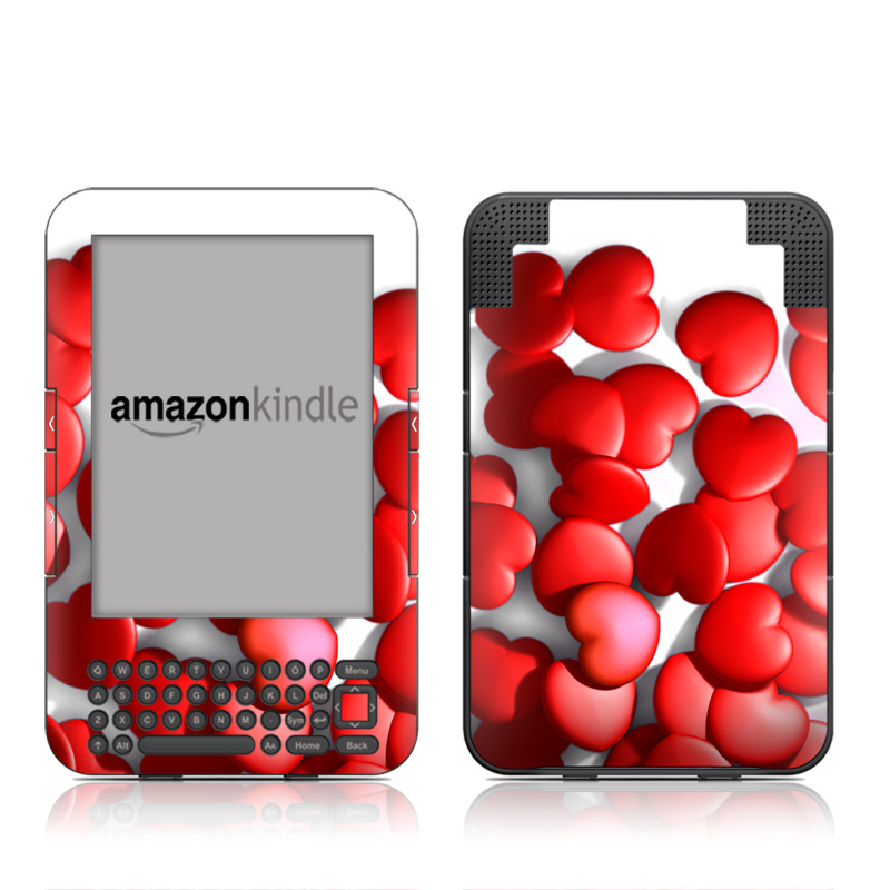 Amazon Kindle 3rd Gen Skin design of Red, Heart, Valentine's day, Petal, Love, Carmine with red, white, gray, black, pink colors