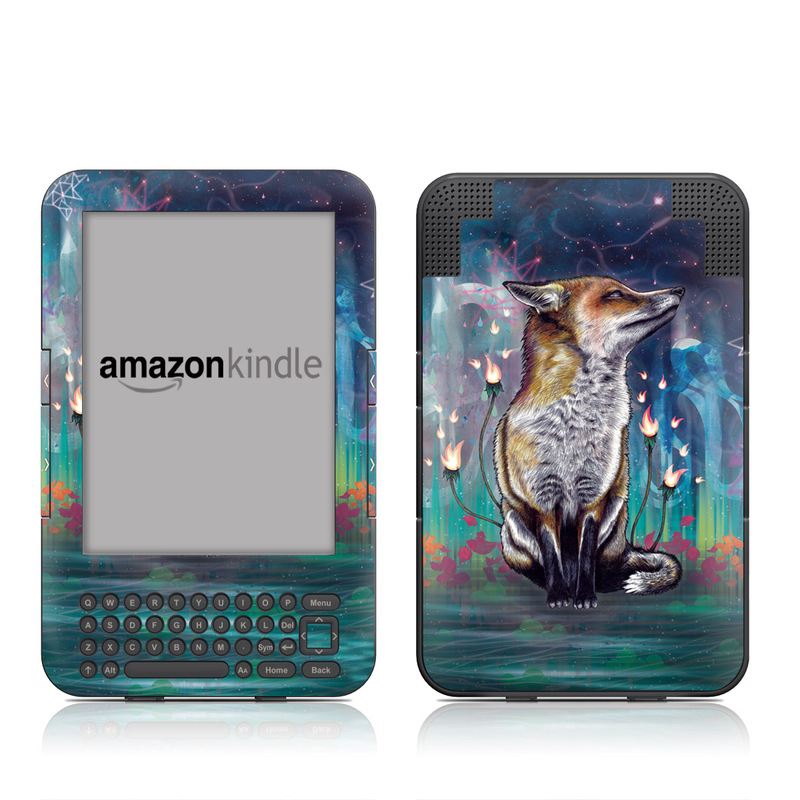 Amazon Kindle 3rd Gen Skin design of Red fox, Art, Wildlife, Canidae, Illustration, Fox, Carnivore, Painting, Dhole, Red wolf with black, gray, blue, red, green colors
