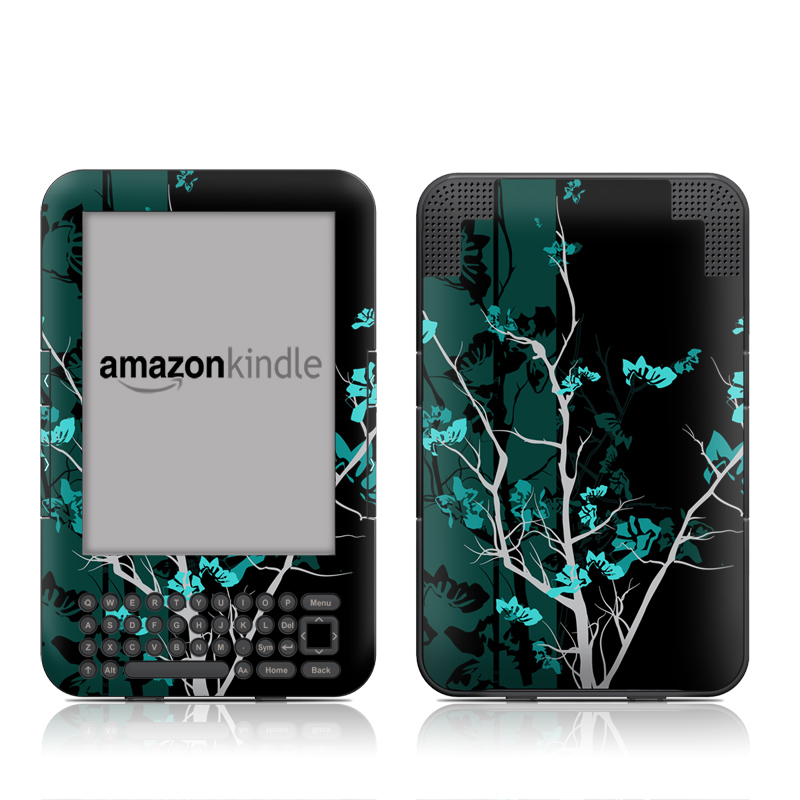 Amazon Kindle 3rd Gen Skin design of Branch, Black, Blue, Green, Turquoise, Teal, Tree, Plant, Graphic design, Twig with black, blue, gray colors