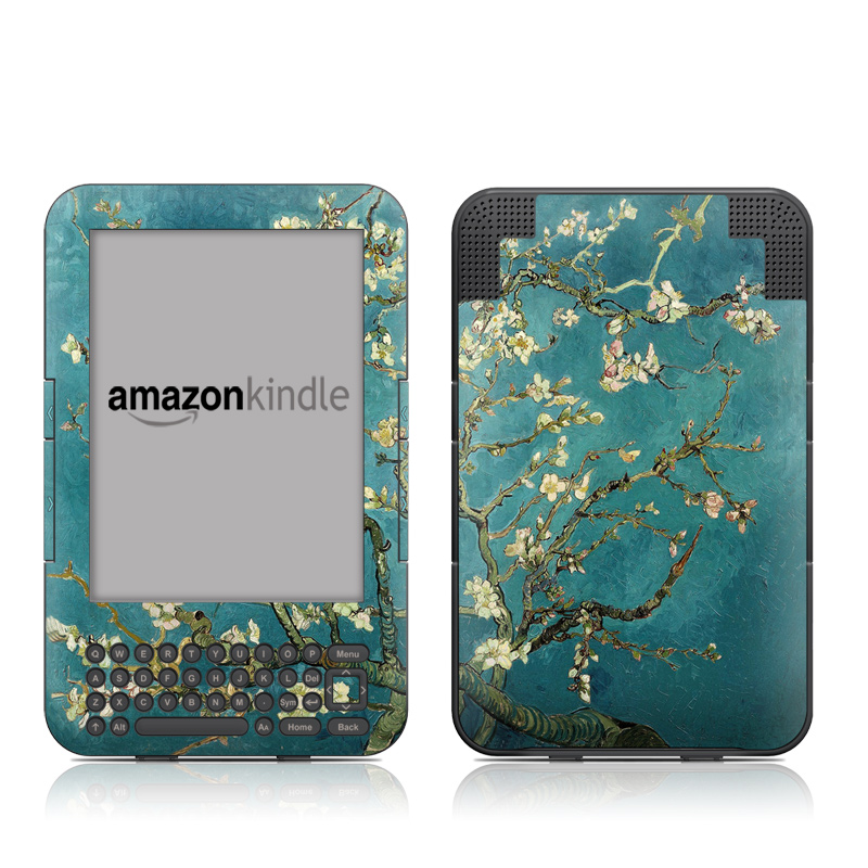 Amazon Kindle 3rd Gen Skin design of Tree, Branch, Plant, Flower, Blossom, Spring, Woody plant, Perennial plant with blue, black, gray, green colors
