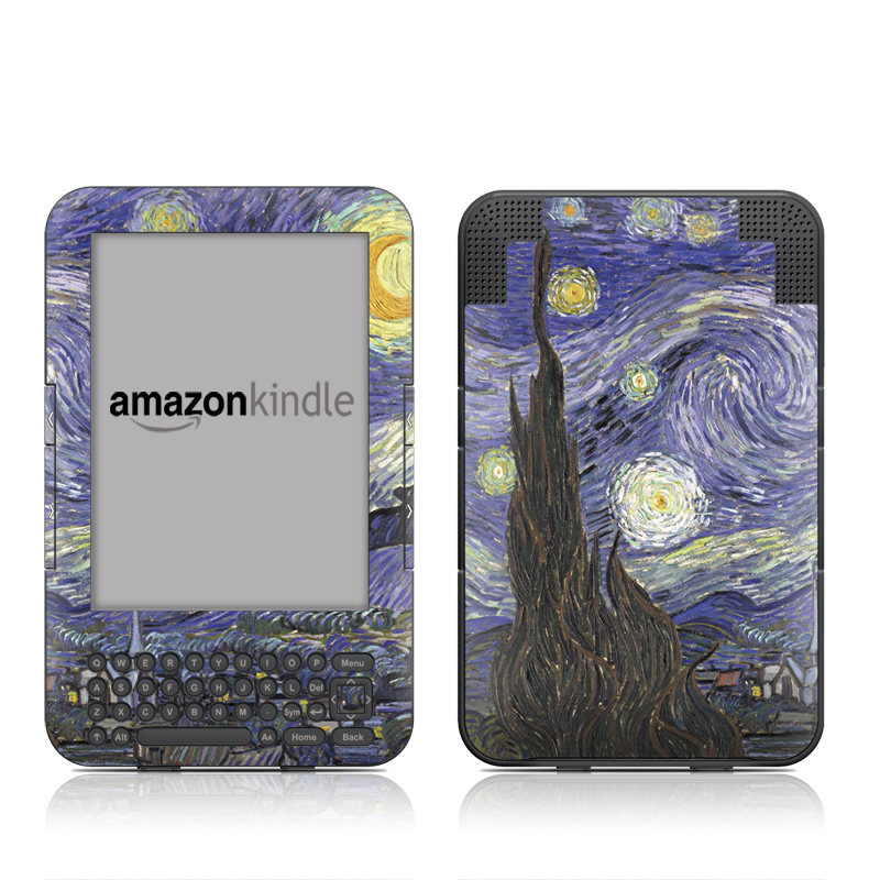 Amazon Kindle 3rd Gen Skin design of Painting, Purple, Art, Tree, Illustration, Organism, Watercolor paint, Space, Modern art, Plant with gray, black, blue, green colors