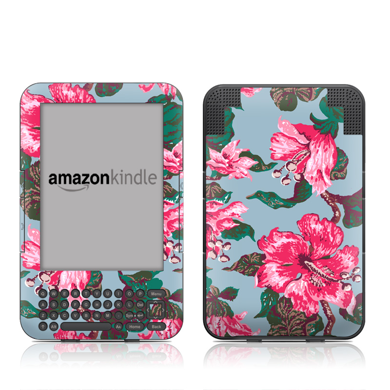 Vintage Hibiscus Amazon Kindle 3 Skin
